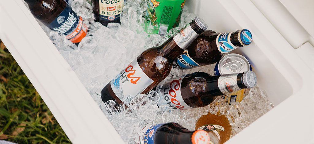 Beer in a cooler with ice