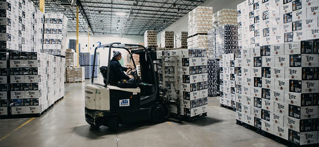 forklift carrying Miller Lite boxes